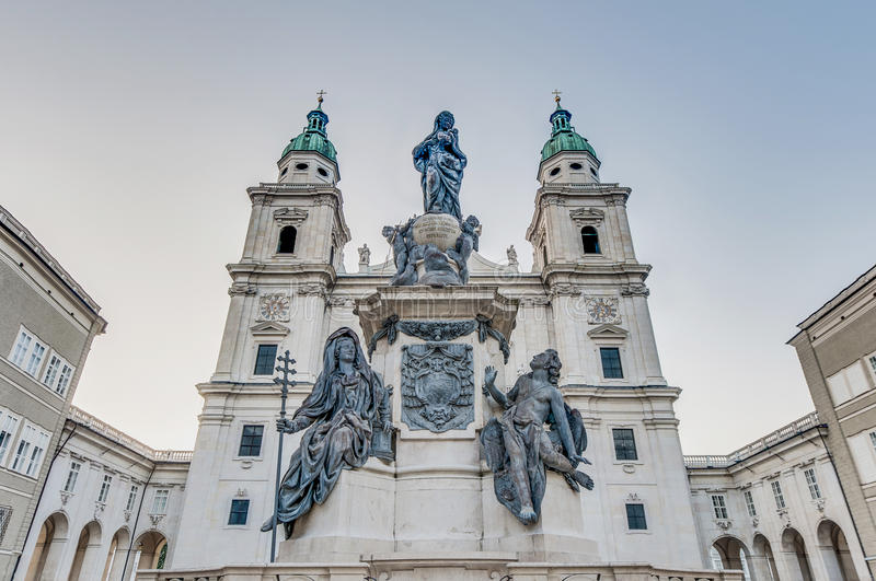 Cathedral square (Domplatz) located at Salzburg, Austria royalty free stock photos