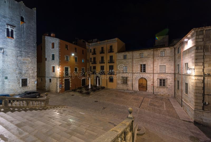 Cathedral square, Girona, Catalonia, Spain. Night scene stock photos
