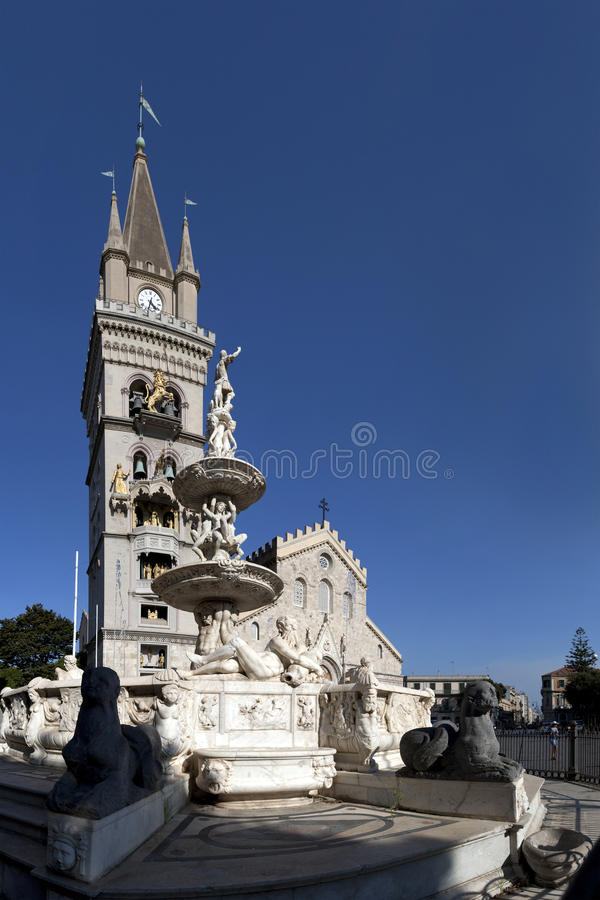 Cathedral square of Messina and its monuments. In the Cathedral Square Messina is situated the important and famous Fountain of Orion royalty free stock photography