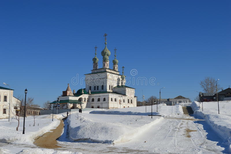 Cathedral Square in Solikamsk. Russia. stock photo