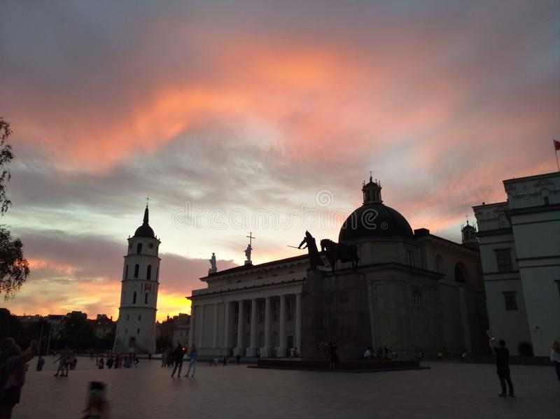 Cathedral Square in Vilnius, Lithuania stock photography