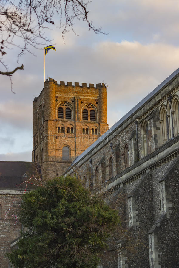 Cathedral of St Albans. Ancient cathedral of St Albans in the United Kingdom stock images