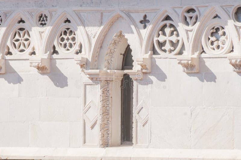 Cathedral of St. Andrea, Carrara detail. Tuscany. Italy stock photography