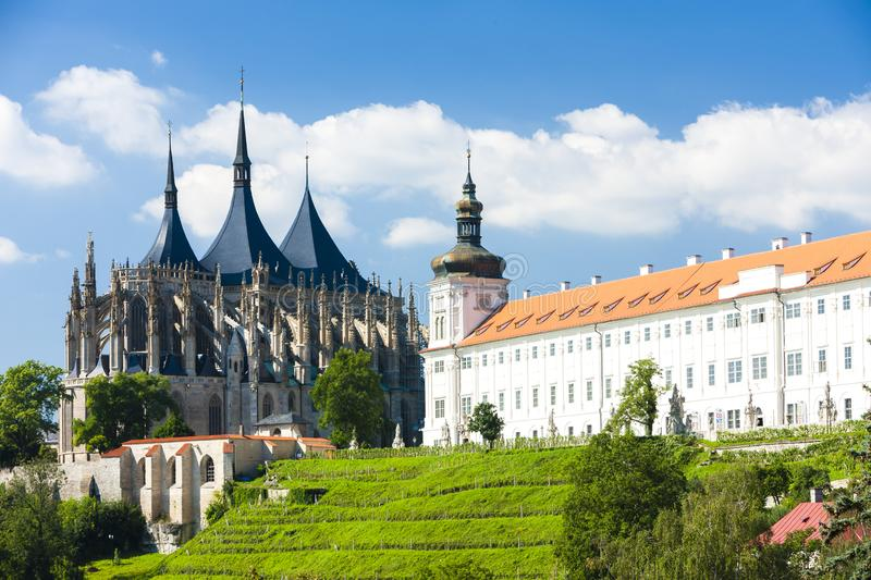 Cathedral of St. Barbara and Jesuit College, Kutna Hora, Czech R royalty free stock images