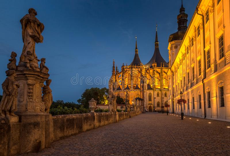 The Cathedral of St Barbara at night, Kutna Hora. stock photography