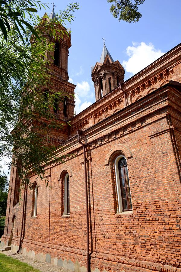 Kastsole St. Barbara in Vitebsk. Belarus. Catholic Cathedral near the cemetery. Cathedral of St. Barbara. Vitebsk. Belarus. 07/15/2019. Kastsoel St. Barbara stock photos
