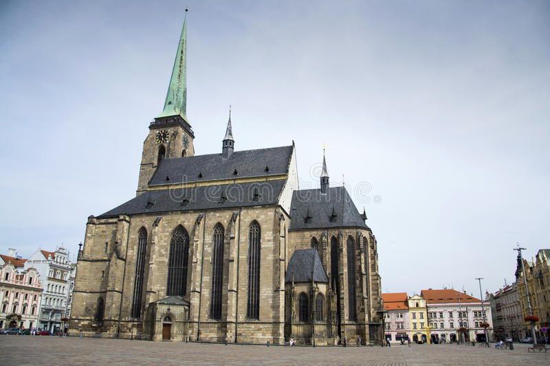 Cathedral of St. Bartholomew on the Marian square, in Pilsen, Czech republic stock photos