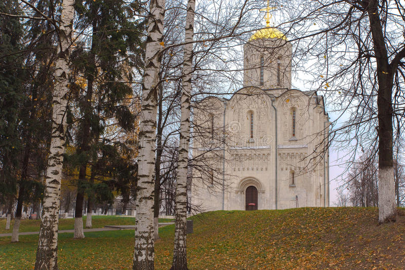 Cathedral of St. Demetrius in Vladimir. Ancient Cathedral of St. Demetrius of the twelfth century in the medieval capital of Russia - the city of Vladimir, in stock photography