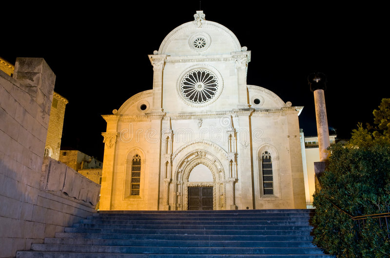 Cathedral of St Jacob in Sibenik. Stairway leading to Cathedral of St Jacob in Sibenik, Croatia - part of UNESCO world heritage royalty free stock photography