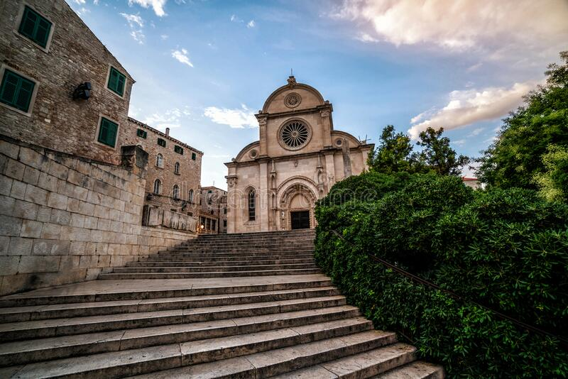 Cathedral of St James in Sibenik, Croatia. St James Cathedral is the most important architectural monument of the Renaissance era in Croatia. The Cathedral royalty free stock image