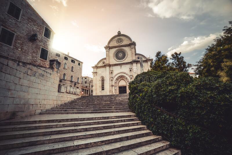 Cathedral of St James in Sibenik, Croatia. St James Cathedral is the most important architectural monument of the Renaissance era in Croatia. The Cathedral stock photo