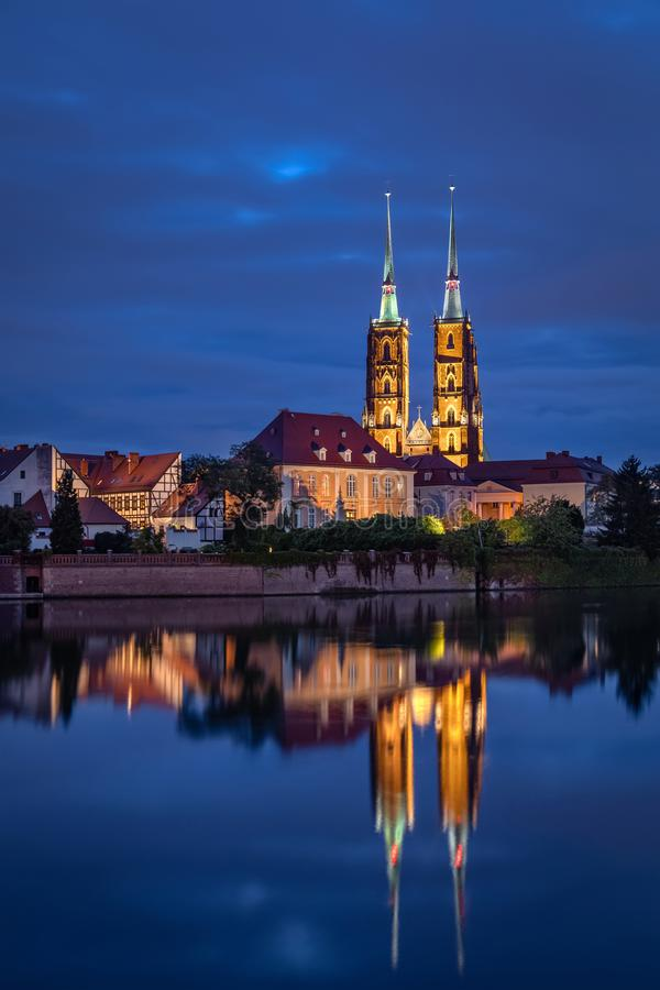 Cathedral reflecting in Oder river, Wroclaw, Poland royalty free stock photo