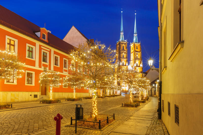 Cathedral of St. John at night in Wroclaw, Poland stock photos