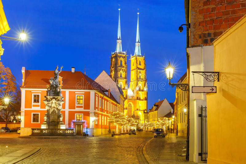Cathedral of St. John at night in Wroclaw, Poland stock image