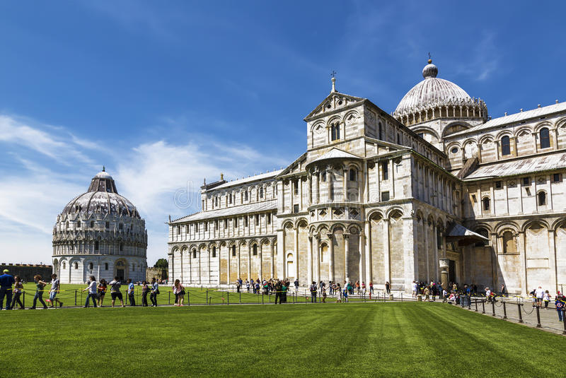 Cathedral St. Mary of the Assumption and Baptistery of St. John in the Piazza dei Miracoli in Pisa royalty free stock images