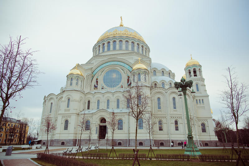 Cathedral of St. Nicholas in town Kronshtadt, Russia. Second name of cathedral is Sea cathedral stock image