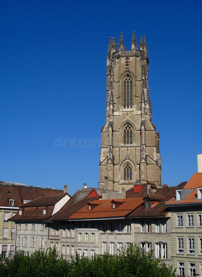 Cathedral St.Nicolas, Fribourg stock photo