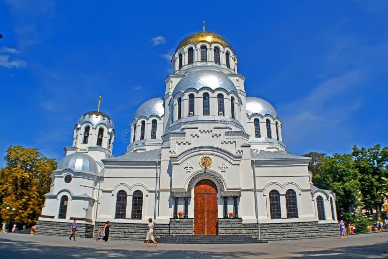Cathedral of St. Prince Alexander Nevsky aka Alexander Nevski cathedral in Kamyanets-Podilski, Ukraine. KAMIANETS-PODILSKYI, UKRAINE - AUG 25, 2019: Alexander stock photography