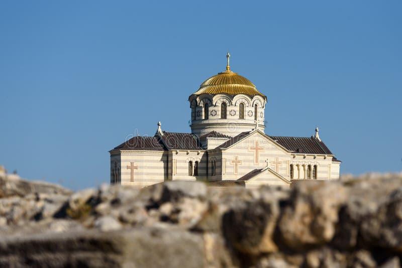 Crimea, Sevastopol, 12.09.2019: Cathedral of St. Prince Vladimir in Tauric Chersonese. Cathedral of St. Prince Vladimir in Tauric Chersonese stock photos