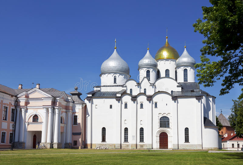 The cathedral of St. Sophia (the Holy Wisdom of God) in the Novgorod Kremlin. Russia stock images