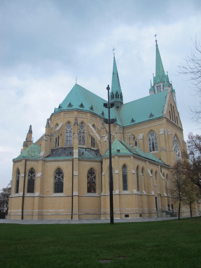Cathedral of St. Stanislaus Kostka. Catholic church is the biggest buildings in the city, and is an important center of religious life of Catholics of Lodz royalty free stock image
