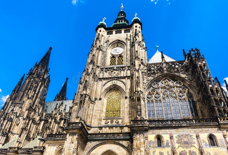 Cathedral of St. Vitus, Wenceslas and Vojtech in Prague Castle stock photography