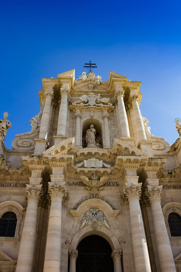 The Cathedral of Syracuse - partial view. In Piazza del Duomo, Ortygia island, Syracuse, Italy stock photography