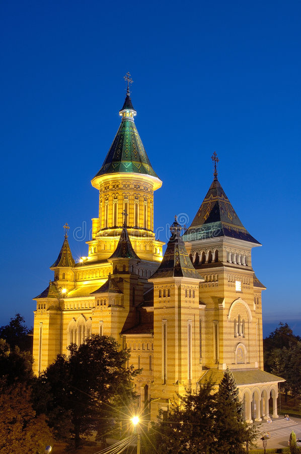 Cathedral of Timisoara at Night stock images