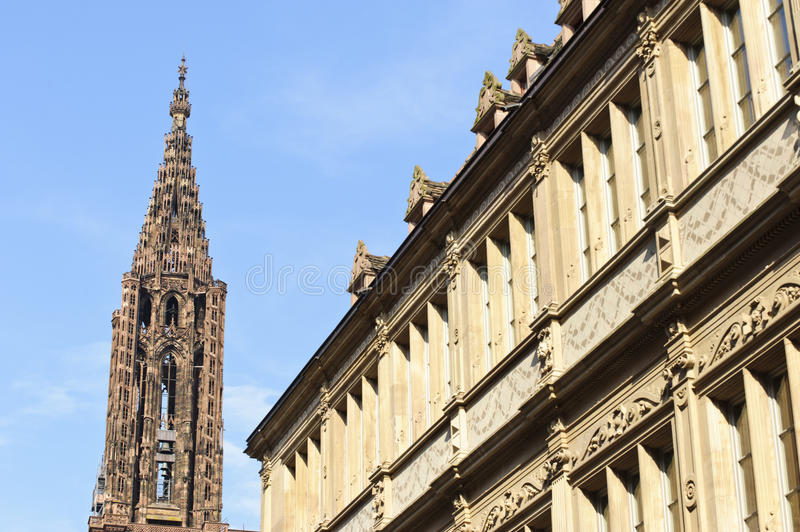 Cathedral tower of Our Lady in Strasbourg stock photos