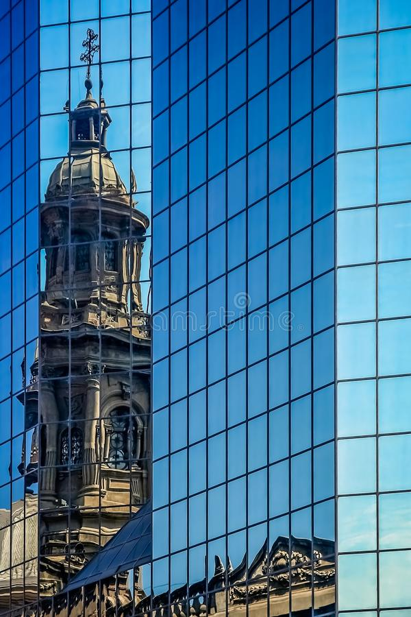 Cathedral tower reflection in Santiago stock photos
