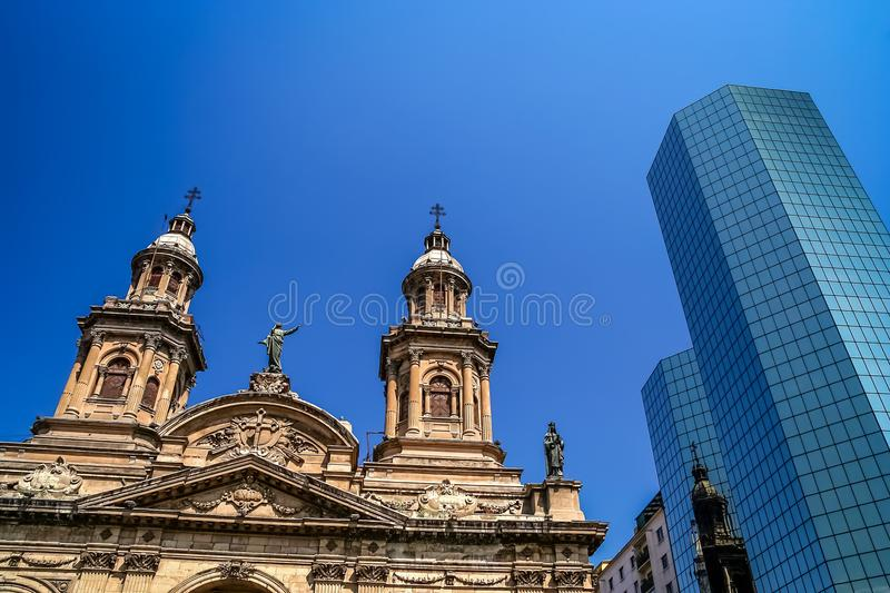 Cathedral towers and skyscraper in Santiago stock image