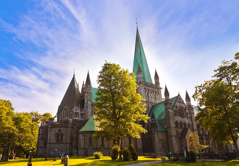 Cathedral in Trondheim Norway stock photos