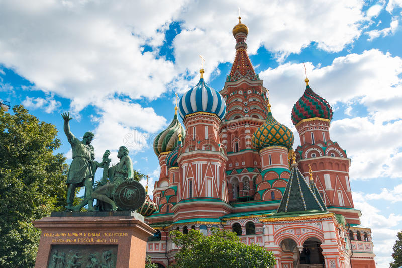 Cathedral of Vasily the Blessed on Red Square in Moscow stock photography