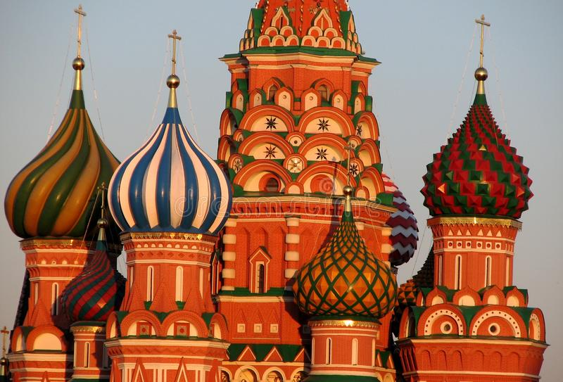 Stunning sunny view of Saint Basil`s in Moscow`s Red Square stock images