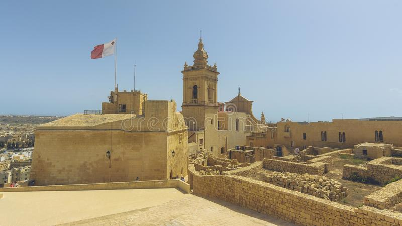 Cathedral in Victoria, Capital of Gozo Malta royalty free stock photo