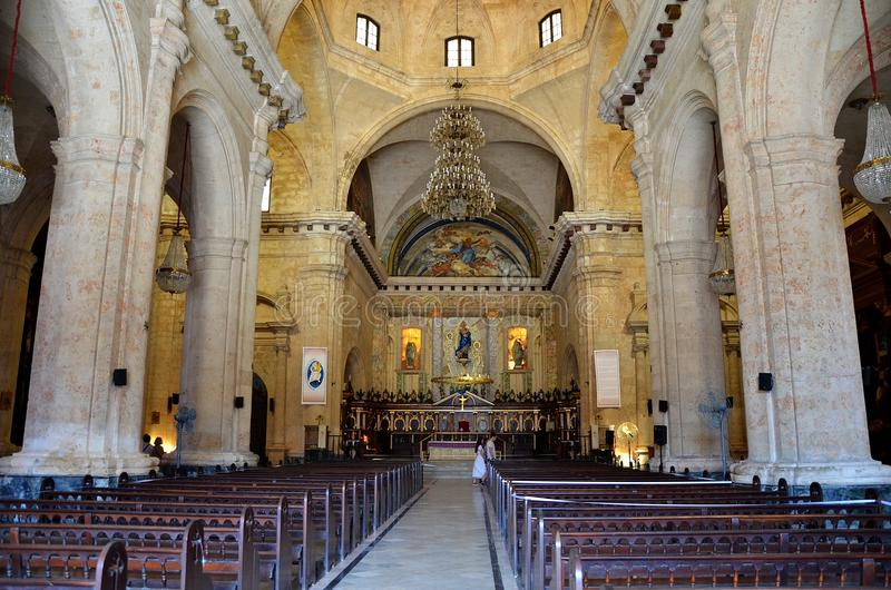The Cathedral of the Virgin Mary of the Immaculate Conception, Cuba. Inside the Cathedral of the Virgin Mary of the Immaculate Conception, Cathedral of Havana royalty free stock image