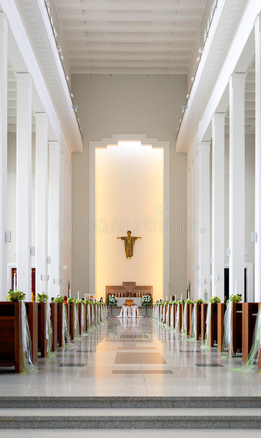 Cathedral Wedding. Wedding Hall in Catholic Cathedral royalty free stock photography