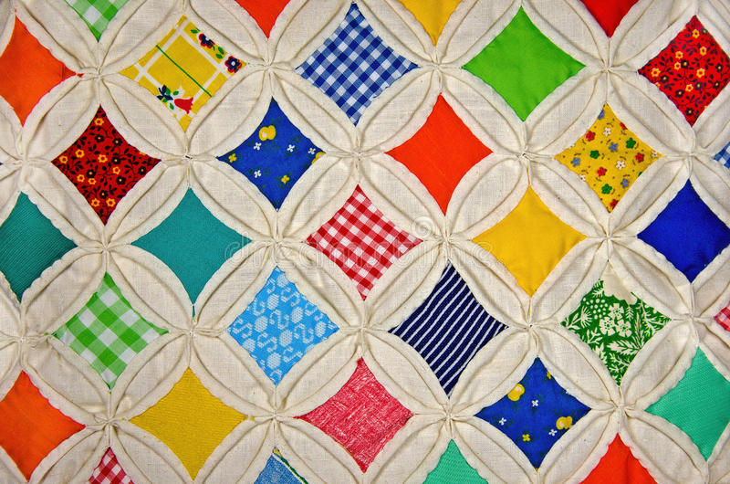 Cathedral Window quilt pattern stock photos