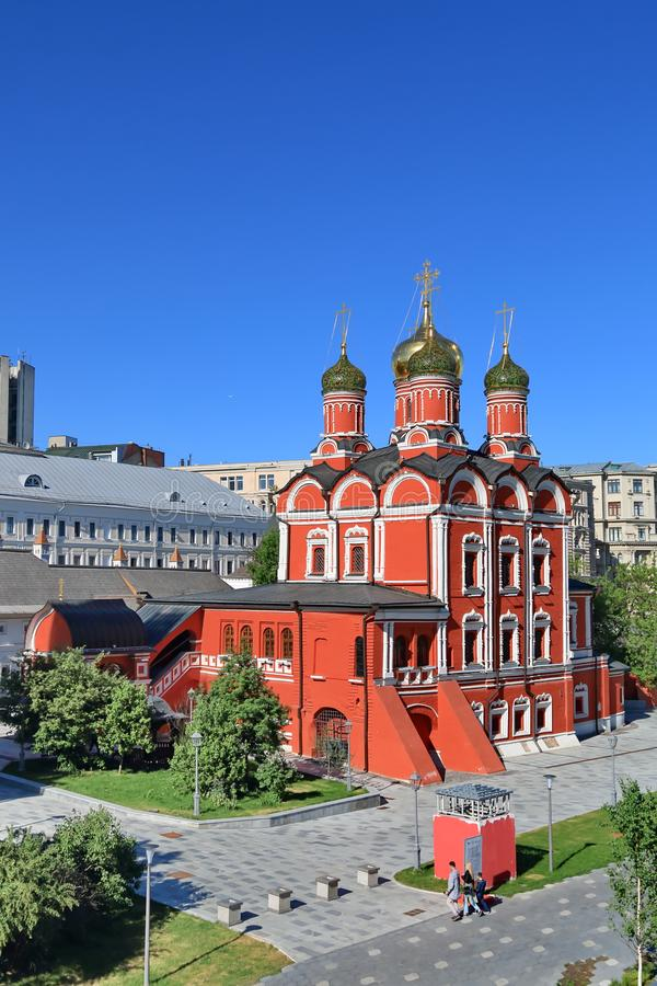 Cathedral of the Znamensky Monastery in the central part of Moscow royalty free stock images