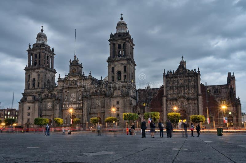 Cathedral on Zocalo , Mexico City, Mexico. Mexico City, Mexico - November 15, 2016: Cathedral on Zocalo at the dusk, Mexico City, Mexico royalty free stock photography