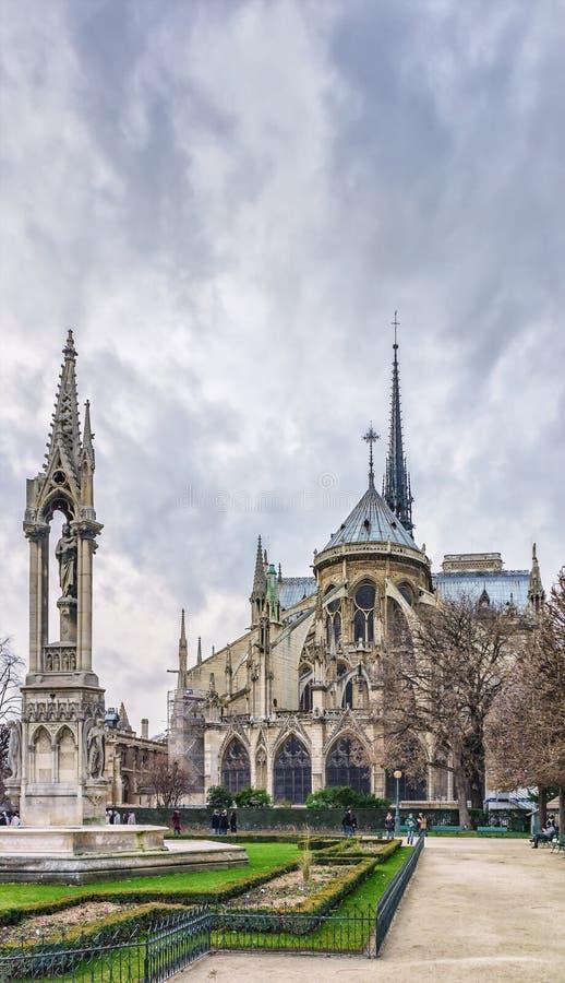 Cathedrale Нотр-Дам Нотр-Дам de Париж увиденный от квадратного Джина XIII с fontaine de Ла Vierge Ла, Парижем, Францией стоковое фото
