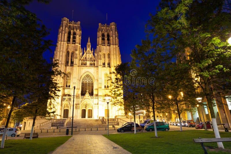 Cathedrale des Saints Michel et Gudule at night. Cathedrale des Saints Michel et Gudule during night in Brussels, Belgium stock photo