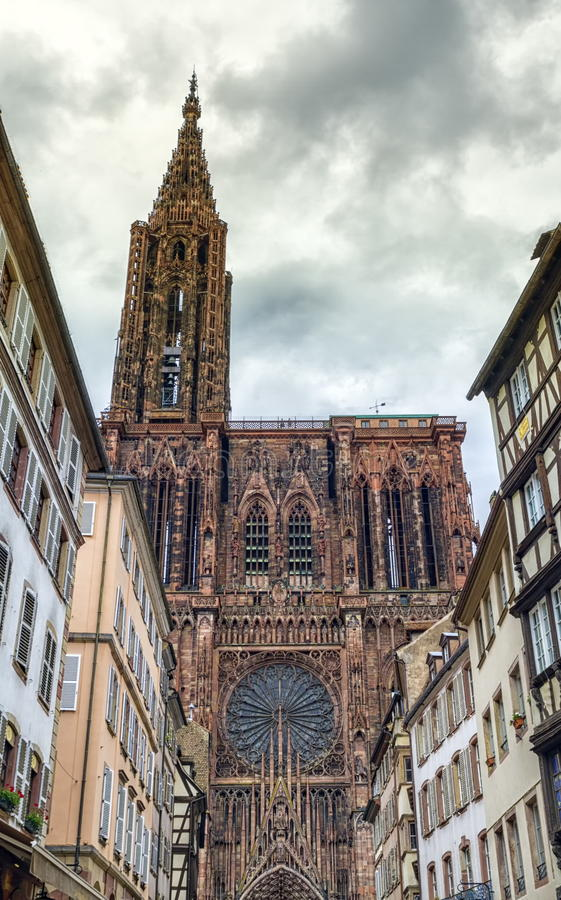 Cathedrale Notre-Dame or Cathedral of Our Lady in Strasbourg, Al royalty free stock photography