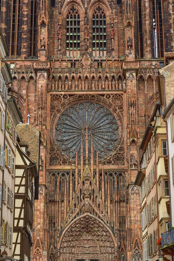 Cathedrale Notre-Dame or Cathedral of Our Lady in Strasbourg, Al. Close up on the Cathedrale Notre-Dame or Cathedral of Our Lady of Strasbourg behing famous royalty free stock image