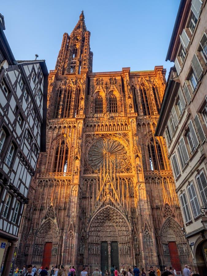Cathedrale Notre-Dame, Strasbourg Frankrike arkivfoto