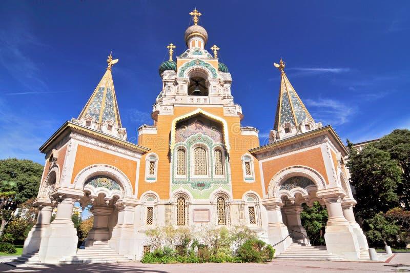 Cathedrale Orthodoxe Russe helgon Nicolas de Nice, den ryska ortodoxa domkyrkan i Nice, Frankrike arkivfoto