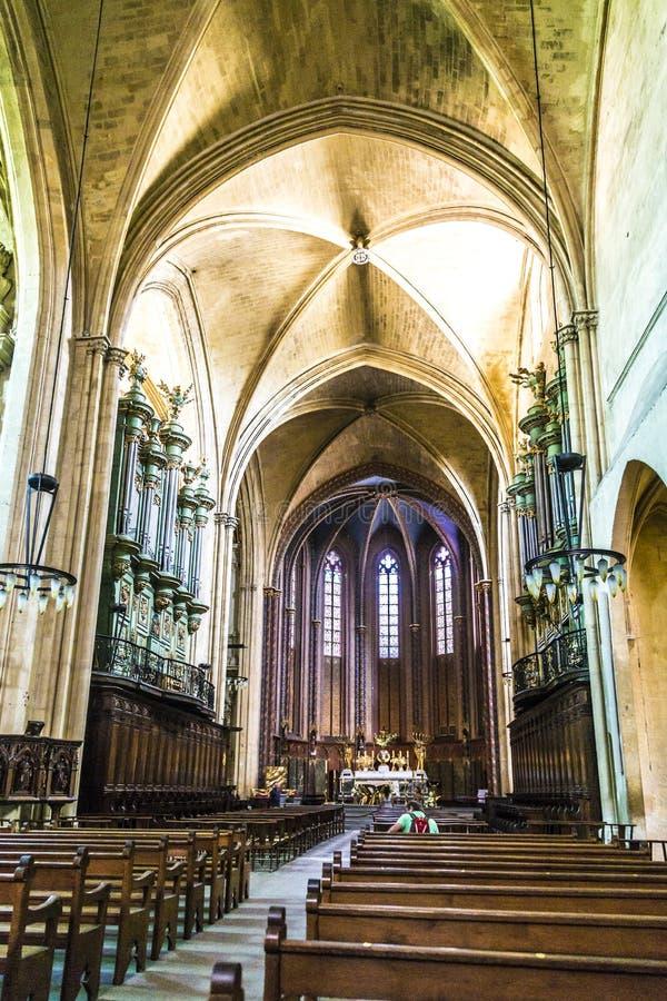 Cathedrale Sainte Sauveur in Aix-en-Provence, Frankrijk stock afbeelding
