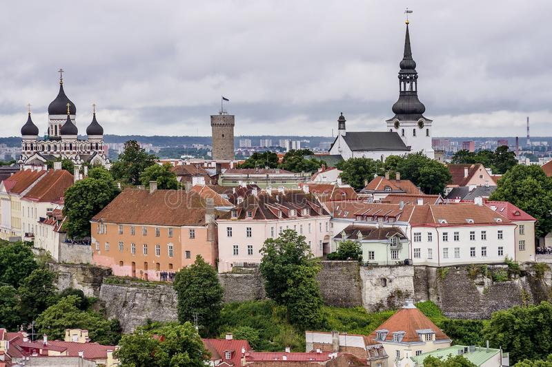 The cathedrals of Toompea and Aleksander Nevski seen from the top of the St. Olav`s Church bell tower, Tallinn, Estonia. Europe stock photos