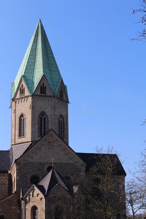 Catheral in Essen-Werden (Duitsland) stock afbeelding