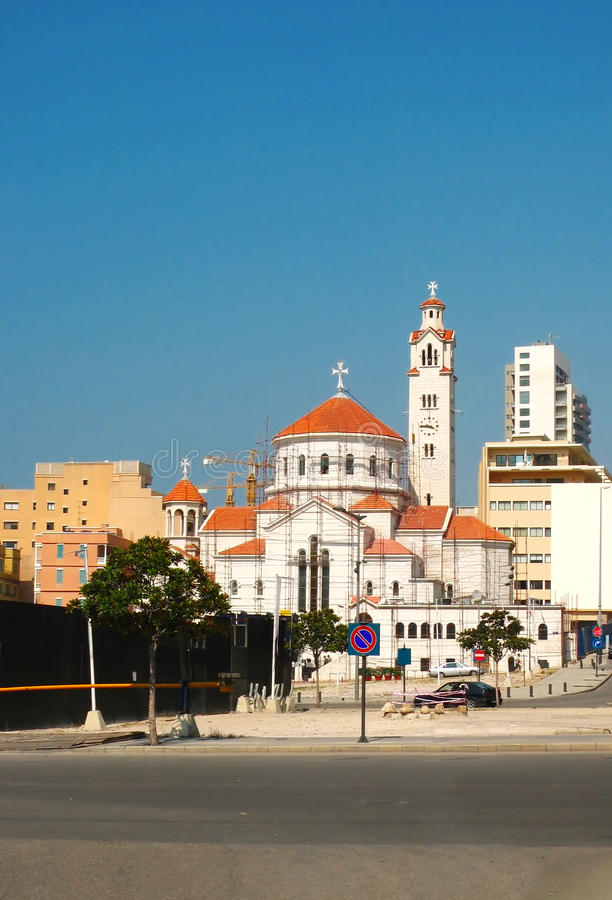 Catherdal在黎巴嫩的进城地区 库存照片
